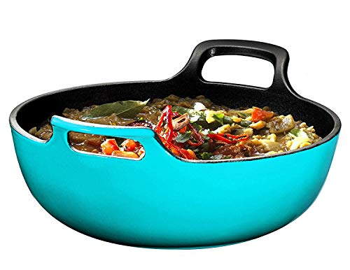 Enameled Cast Iron Balti Dish With Wide Loop Handles, 5 Quart, - Iron Cast Enameled Qt 5