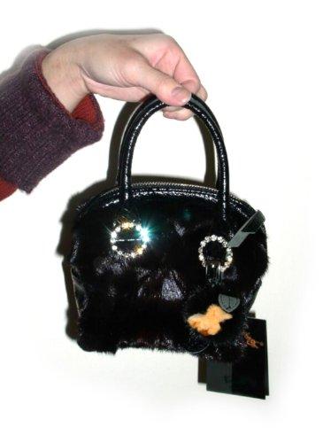FursNewYork vison fourrure noire mini-sac de soirée avec des anneaux de cristal