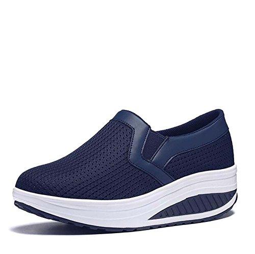 Zapatillas Deportivas Ocasionales Gruesas de Malla Baja Transpirable Color Sólido Lefu Shake Zapatos Tamaño 35-40 Azul