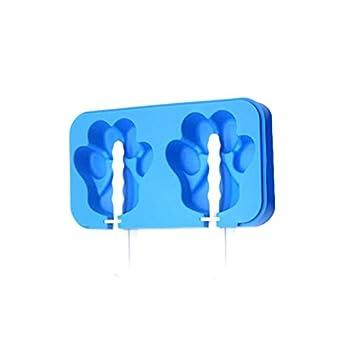Flower205 - Molde de silicona flexible y duradero para congelar y limpiar fácilmente 2 huellas de gato ...