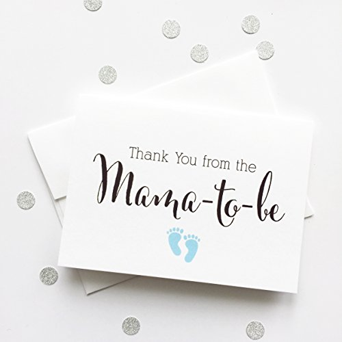 Thank you from the Mama-to-be, Baby Shower Thank You Cards (TYMA1) - Seal Aquamarine