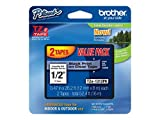 "Brother Genuine P-touch TZE-1312PK Tape, 1/2"" (0.47"") Standard Laminated P-touch Tape, Black on Clear, Perfect for Indoor or Outdoor Use, Water Resistant, 26.2 Feet (8M) each, Two-Pack"