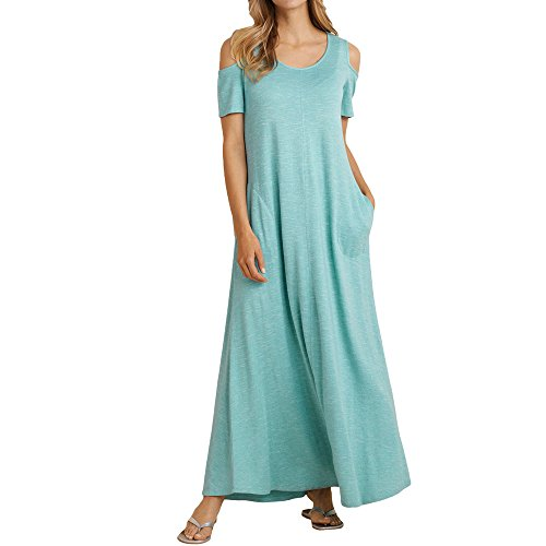 Alaster Queen Women's Cold Shoulder Short Sleeve Loose Dress Casual Summer Long Maxi Dress with Pockets