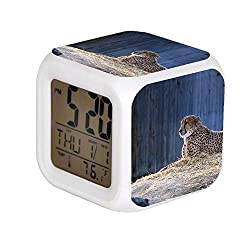 7 Color Change LED Digital Alarm Clock with Date Alarm Thermometer Desktop Table Cube Alarm Clock Child Home Brown Jaguar