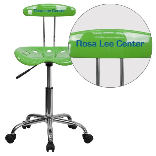 "Personalized Vibrant Spicy Lime And Task Chair With Tractor Seat Green/Chrome/16.5""L x 17""W x 34.75""H"