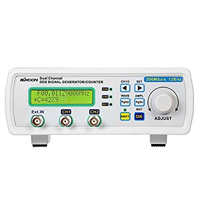 KKmoon Signal Generator, High Precision Digital DDS Dual-Channel Signal Source Generator Arbitrary Waveform Frequency Meter 200MSa/s 25MHz