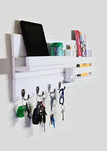 Farmhouse Rustic Mail Organize Featuring Customizable Number of Key Hooks, Shelf Mail Slot, Available in 20 Colors - Shown in Bright Ivory White - Rustic Wall Mount Mail and Key Rack