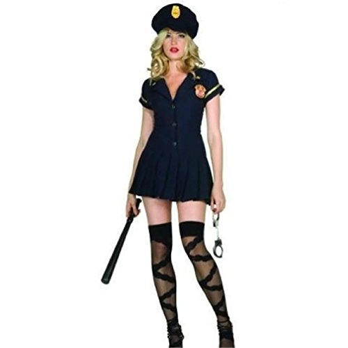 [Officer Save Me Womens Halloween Costume Rg Costumes Sexy Cop Convict Police] (Medieval Serving Wench Costumes)