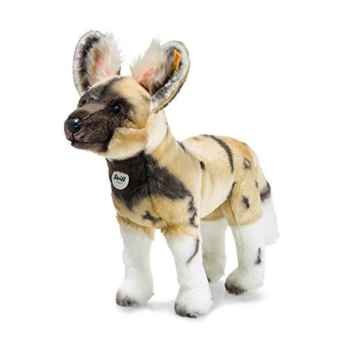 Steiff 066122 Aboci African Wild Dog Soft Toy, Blond/Brown/White, 38 cm