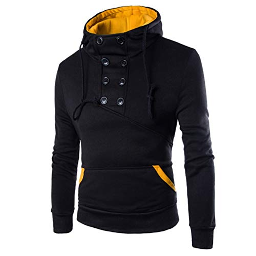 Men Long Sleeve Hoodie Sweatshirt Button Up Casual Slim Fit Pullover Sweater T Shirt (XL, Black)