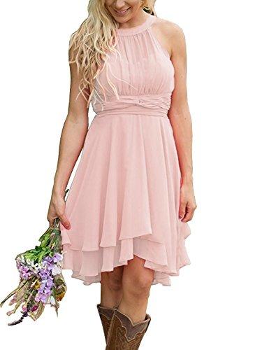 XingMeng Short A Line Halter Chiffon Prom Homecoming Bridesmaid Dresses Blush US 10