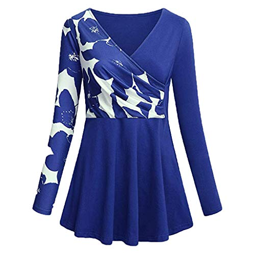 ▶HebeTop◄ Women's Short/Long Sleeve Color Block Flare Floral Printed Tunic Dress Blue