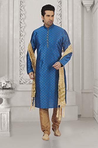Wedding Mens Set 2 Party Blue Kurta Of Dupion Facioun Wear Da India Pajama zqBnIwU5