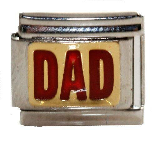 Pendant Jewelry Making Red Dad Italian Link Bracelet Charm