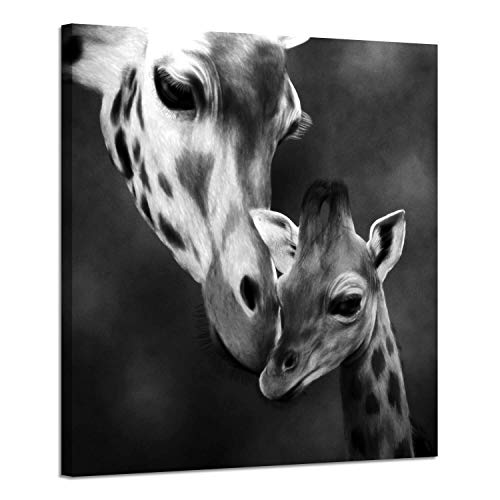 Animals Canvas Wall Art Paintings: Mama and Baby Giraffe Kiss Photographic Artwork Prints in Black for Room Decor