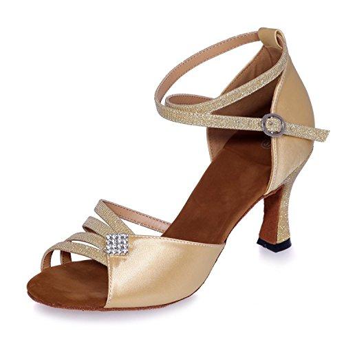 L@YC Frauen tanzen Schuhe Satin auf lateinischen Tanzschuhe (Farbe) Kann angepasst werden / große Werften Golden