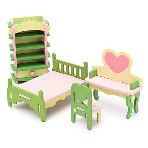 HITSAN 4 Sets of Delicate Wood Dollhouse Furniture Kits for Doll House Miniature One Piece by HITSAN (Image #2)