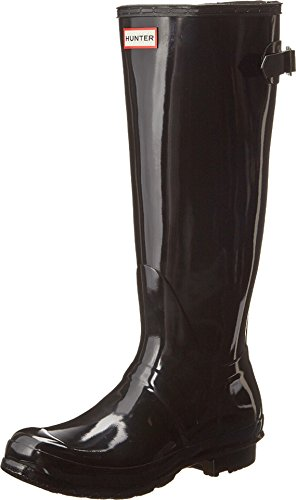 (Hunter Women's Original Back Adjustable Gloss Rain Boots Black 8 M US M)