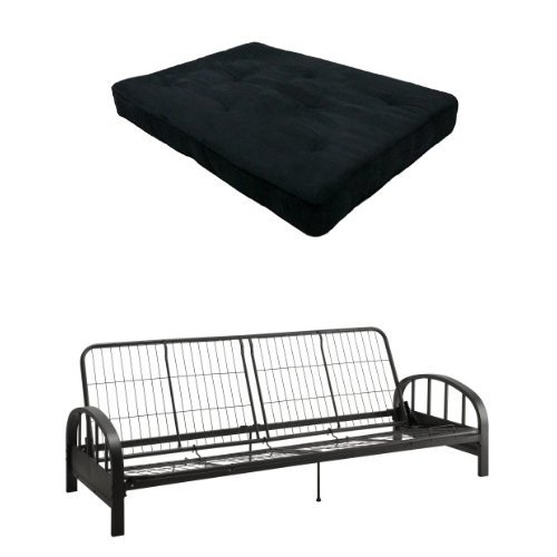 DHP 8-Inch Independently-Encased Coil Premium Futon Mattress, Full Size, Black & DHP Aiden Futon Frame, Black
