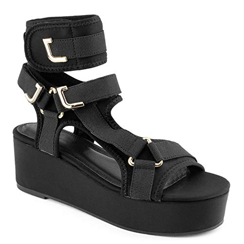 RF ROOM OF FASHION Strappy Elastane Harness Chunky Platform Wedge Heel Sandals Black Size.5.5 ()