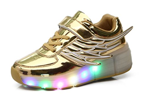 Mr.Ang con luces LED coloridos parpadeante neutra ruedas de patines de rueda patín zapatos Zapatos del patín zapatos deportivos niños y niñas de calzado deportivo zapatos de skate Doré