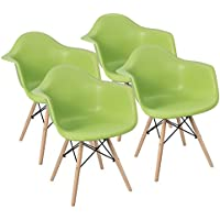 Furmax Eames Style Arm Chair Mid Century Modern DSW Dining Chair Side Chair Natural Wood Eiffel Dowel-Legs, Shell Chair Lounge Chair for Dining Room Living Room Bedroom Kitchen, Set of 4 (Green)