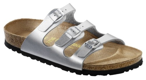 Birkenstock Women's Florida Soft Footbed Birko-Flor  Silver Sandals - 37 M EU (Birkenstock With Heel Strap)