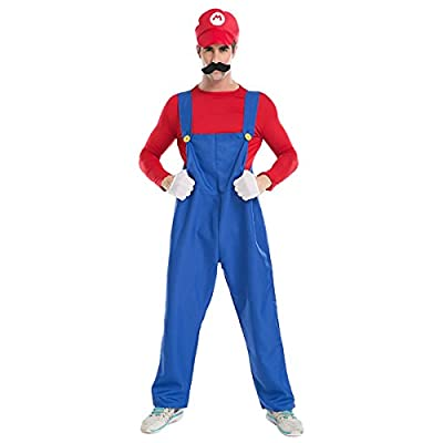 Quesera Men's Super Mario Costume Adult Cosplay Costume Mario Brothers Halloween Costume