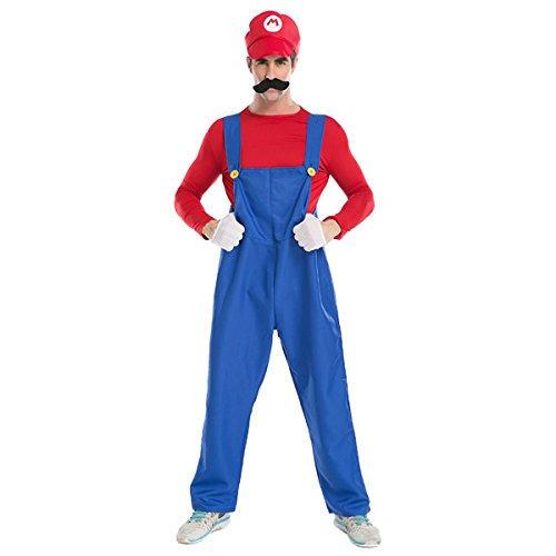 Quesera Men's Super Mario Costume Adult Cosplay Costume Mario Brothers Halloween Costume, Red, M