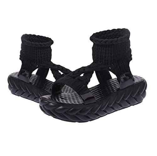 Dames Mode Noir D'été Femmes Sandales Chaussures Grandes forme Confort Plate Casual dEqFF