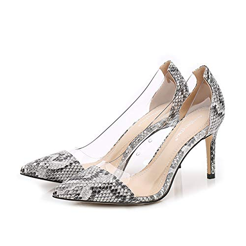 Women's Pumps Fashion Shallow Transparent Patchwork Dress Pointed Toe High Stiletto Heels in Snake Print Sexy Sandals G15S (7.5 M US, White)