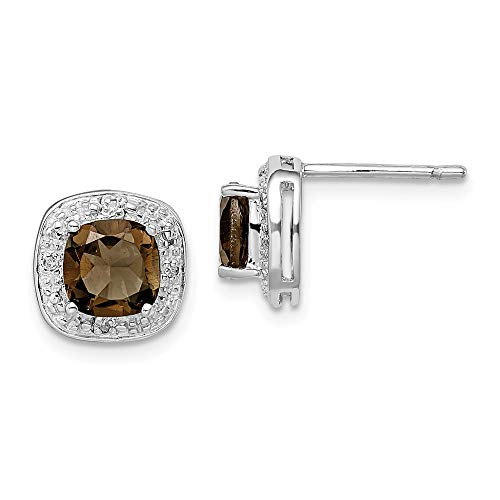 - 925 Sterling Silver Smoky Quartz Diamond Post Stud Earrings Ball Button Fine Jewelry Gifts For Women For Her