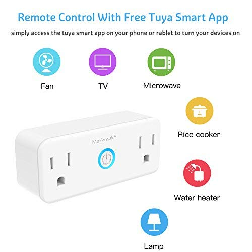 Wifi Smart Plug,Merkmak Wi-Fi Mini Dual Outlets Smart Sockets 15A Timing  Switch with Energy Monitoring Compatible with Amazon Alexa and IFTTT Google