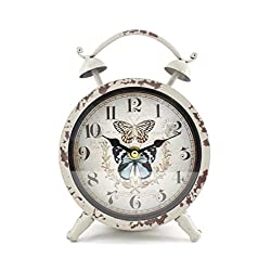 Handcrafted Metal Analog Silent Quartz Desk Clock,8.4x6.4,vintage Rustic Look with Handle,Glass on Front (White-Butterfly)