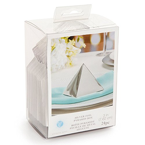 Silver Foil Pyramid Favor Boxes 3x3 Inches Set of 24 Victoria Lynn by Darice