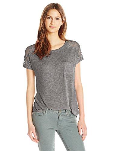 (Paper + Tee Women's Short Sleeve Lace Trim Shoulder Top, Charcoal, Medium)