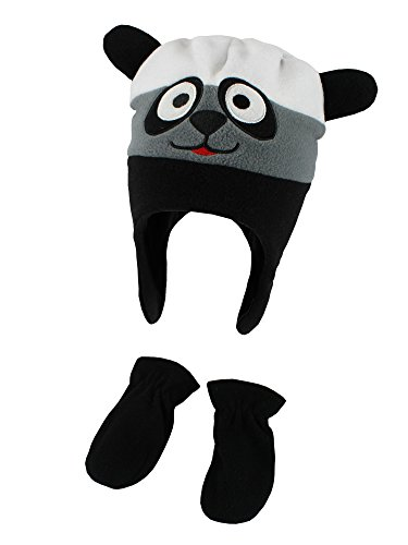 Polar Wear Infant Boys Funny Faces Fleece Ear Flap Beanie Mittens Set