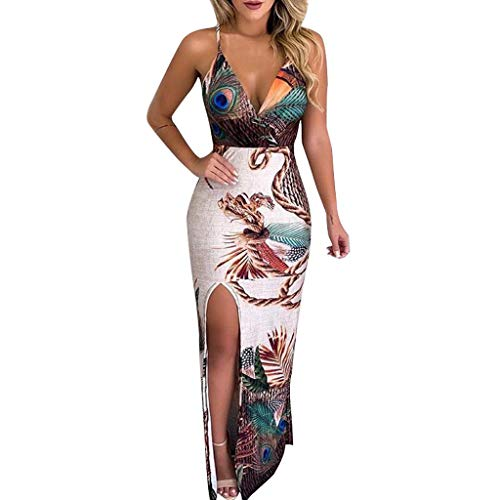 Rambling Fashion New Women's Casual Peacock Feather Print Thigh Slit Slip Dress