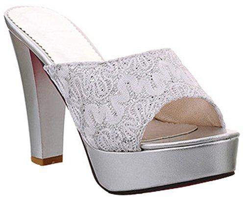 IDIFU Women's Glitter Sequins High Chunky Heel Slide Sandals Peep Toe Platform (Platform 8 Mule)