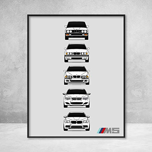 BMW M5 Poster Print Wall Art of the History and Evolution of the M5 Generations (BMW Car Models: E28, E34, E39, E60, F10) ()
