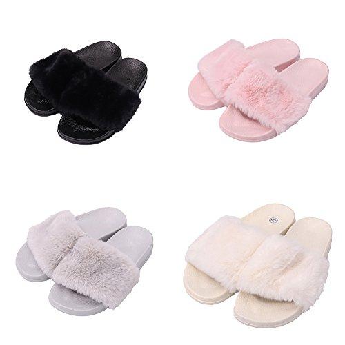 Flats Faux Slip Slippers Slide Slides Fur Lightweight Sandals On Slippers Sandals Green Cue Women Store Tee 8qxXfv1