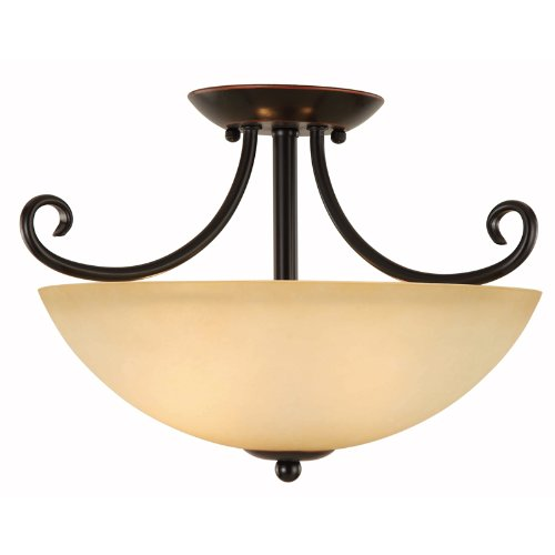 Hardware House Berkshire Series 2 Light Oil Rubbed Bronze 14-1/2 Inch by 10 Inch Semi-Flush Mount Ceiling Lighting Fixture : 16-8052 (Flush Mount Light Hardware)
