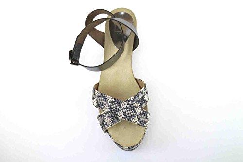 Beige Textil Cuñas Eu Sandalias Mujer Ak643 Cuero Gris 41 Logan Zapatos xAfCaqx