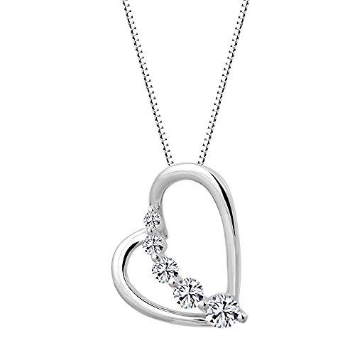 - Solstice Sterling 925 Journey Heart Pendant Made with Swarovski Zirconia (1/2 cttw)