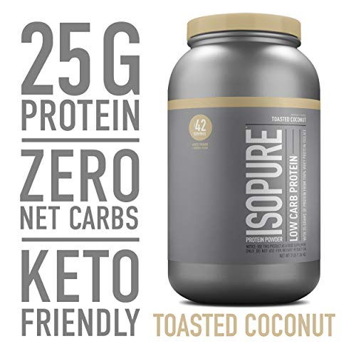 Isopure Low Carb, Keto Friendly Protein Powder, 100% Whey Protein Isolate, Flavor: Toasted Coconut, 3 Pounds (Packaging May Vary)