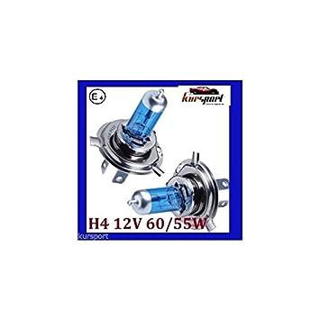 Bombillas / Lamparas H4 12V 60/55W halogenas luz blanca efecto xenonl (2 unidades, marca Eagleye): Amazon.es: Coche y moto
