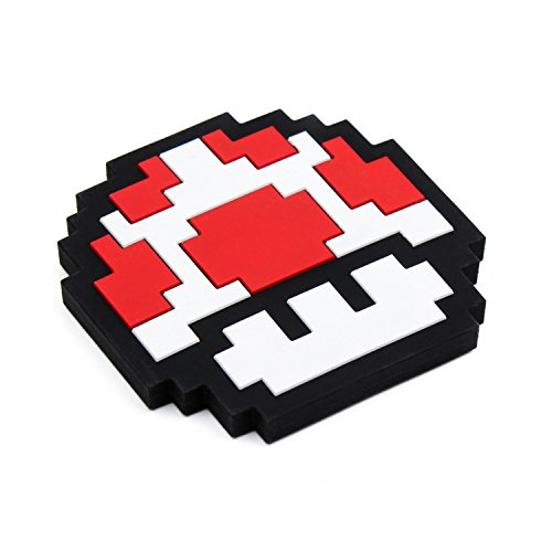 Bumkins Nintendo Silicone Teether, Textured, Soft, Flexible, Bacteria Resistant - 8-Bit Red Mushroom ()