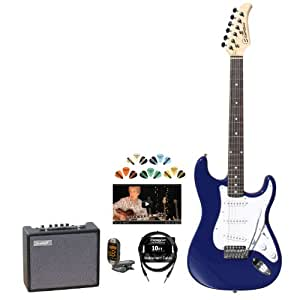 silvertone ss15 cbl kit 2 revolver ss15 cobalt blue electric guitar with tuner. Black Bedroom Furniture Sets. Home Design Ideas