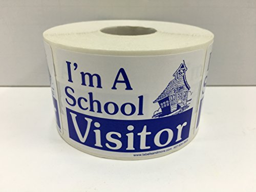 1 Roll 2x3 Blue I'M A SCHOOL VISITOR Name Tag Badge Identification Stickers 500 Labels Per Roll by Labels and More