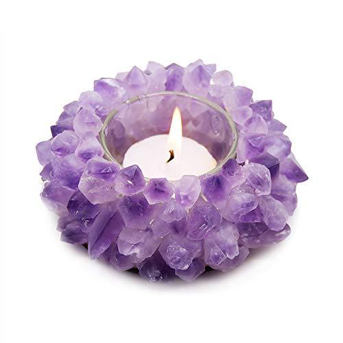 (KINO Handmade Natural Amethyst Quartz Crystal Healing Candle Holder Gemstone Tealight Holder Home Decor Reiki Stone)